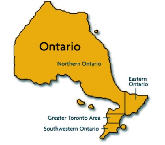 Tìm hiểu bản đồ các thành phố Ontario Canada là ở đâu