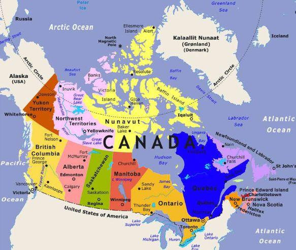 Bản đồ Canada tiếng Việt